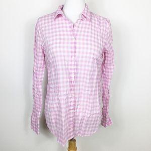 J. Crew Boy Shirt in Pink Gingham Button Up sz. 4